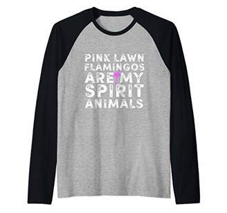 Flamingos Pink Lawn Are My Spirit Animal Bird Lover Humor Raglan Baseball Tee