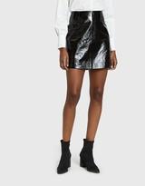 Just Female Patent Mini Skirt in Black