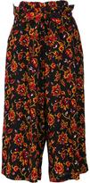 Y's floral pattern belted trousers - women - Cupro/Wool - 1