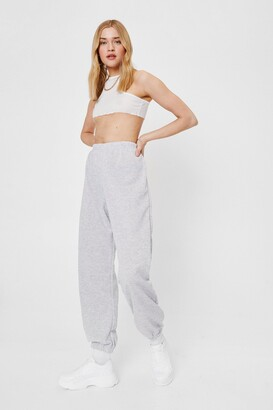 Nasty Gal Womens Don't Sweat the Small Cuff High-Waisted Joggers - Grey - 4