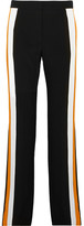 Stella McCartney Striped Silk-crepe Wide-leg Pants - Black