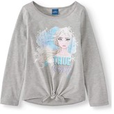 Disney Frozen 2 Girls Elsa and Anna Glitter Long Sleeve Tie Front T-Shirt, Sizes 4-12
