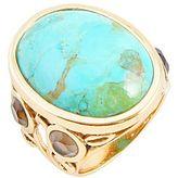 JCPenney Turquoise & Smoky Quartz Bronze Ring