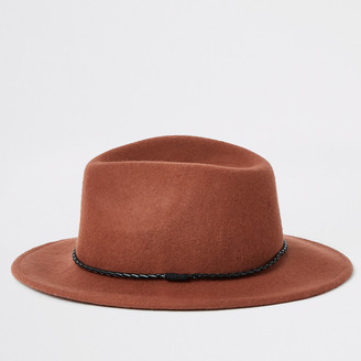 River Island Rust faux leather rope trim fedora hat
