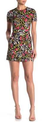 French Connection Cadencia Short Sleeve Fitted Print Dress