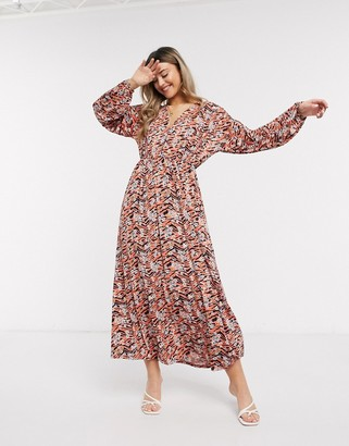 Asos DESIGN long sleeve maxi dress in black and orange animal floral print
