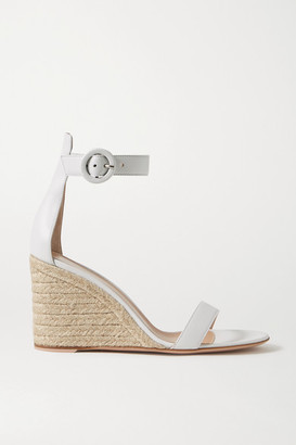 Gianvito Rossi Portofino 85 Leather Espadrille Wedge Sandals - White