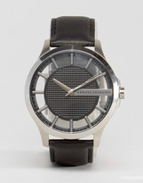 Armani Exchange Leather Watch In Black Ax2186