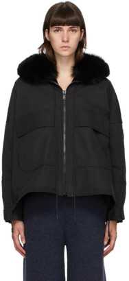 Yves Salomon Army Black Down and Fur Bachette Jacket