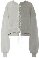 Unravel Lace-up cotton sweatshirt