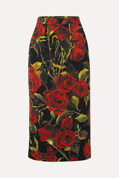 Dolce & Gabbana Floral-print Stretch-silk Pencil Skirt