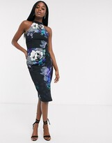 Lipsy halterneck asymmetric pencil dress in dark floral print