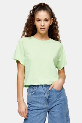 Topshop Green Raglan Crop T-Shirt