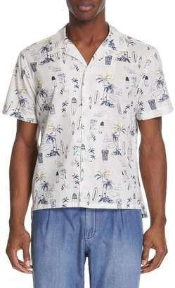 Eleventy Slim Fit Cotton Camp Shirt