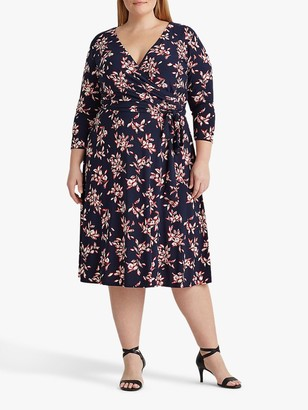Ralph Lauren Ralph Curve Carlyna Floral Print Wrap Dress, Navy/Red