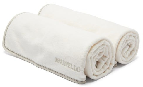 Brunello Cucinelli Set Of Two Logo-embroidered Cotton Hand Towels - White Multi
