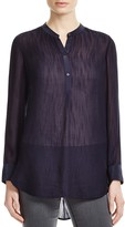 Vince Silk Trimmed Sheer Blouse