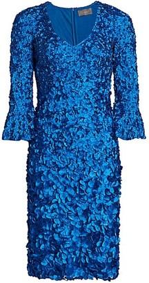 Theia Petals Bell-Sleeve Dress