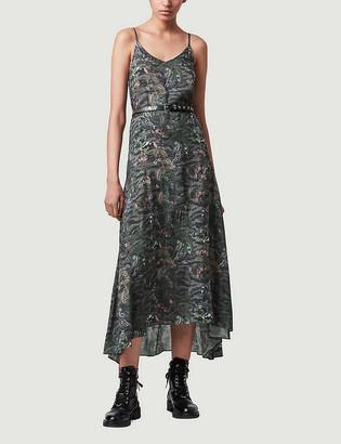 AllSaints Essie Paradeep graphic-print crepe slip dress