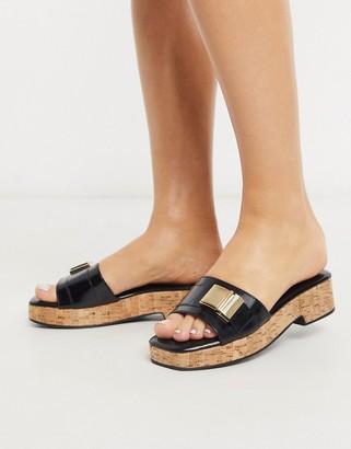 ASOS DESIGN Fairfax cork platform sandals in black