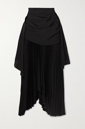 A.W.A.K.E. Mode Asymmetric Draped Pleated Chiffon And Crepe Midi Skirt - Black