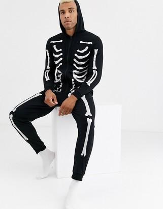 Asos Design DESIGN Halloween hooded lounge onesie with silver foil skeleton print-Black