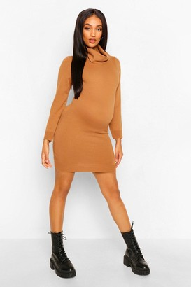 boohoo Maternity Lightweight Roll Neck Knitted Dress