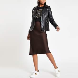 River Island Womens Brown bias cut midi skirt