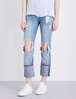 7 For All Mankind Roll-up straight mid-rise jeans