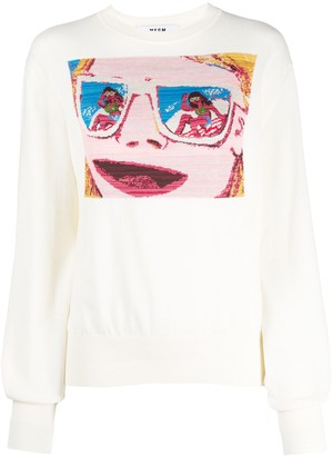 MSGM Face-Jacquard Sweater