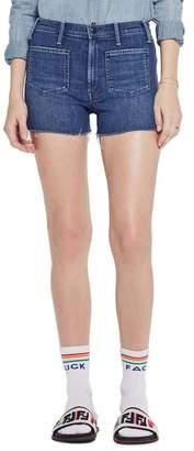 Mother The Tomcat Patch High Waist Cutoff Denim Shorts