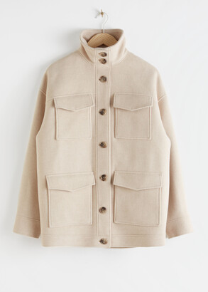 And other stories Oversized Wool Blend Utility Jacket