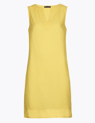 Marks and Spencer PETITE Linen V-Neck Shift Dress