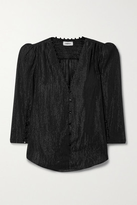 L'Agence Kimberly Metallic Crepon Blouse - Black