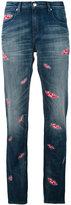 Each X Other lips print boyfriend jeans - women - Cotton/Spandex/Elastane - 24