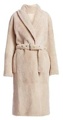 Brunello Cucinelli Women's Belted Lamb Shearling Velour Coat