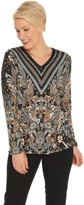 Bob Mackie Floral Print Pullover Knit Top