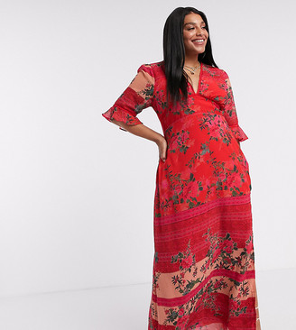 Hope & Ivy Plus exclusive plunge midaxi dress with fluted sleeves in red contrast floral
