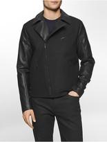 Calvin Klein Mixed Media Wool Moto Jacket
