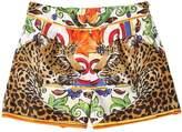 Dolce & Gabbana Maiolica & Leopard Cotton Poplin Shorts