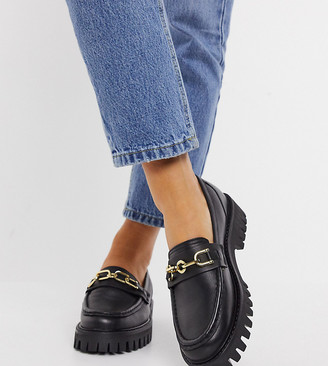 ASRA Exclusive Freya chunky loafers in black leather with gold trim