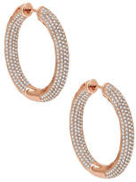 Lafonn Micro Pave Simulated Diamond 6 Rolls Oval Pave Inside Out Hoop Earrings - 6.68 ctw