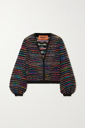 Missoni Metallic Striped Crochet-knit Cardigan - Black