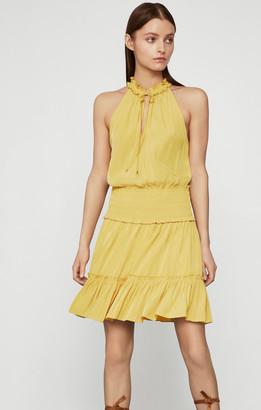 BCBGMAXAZRIA Smocked Tie-Neck Dress