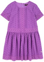 Juicy Couture Girls Soft Woven Eyelet Lace Trim Dress