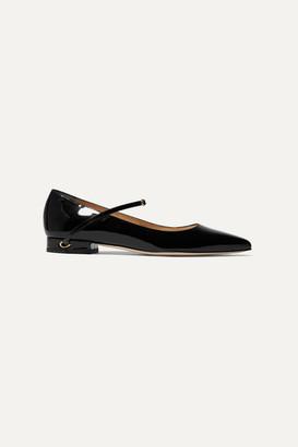 Jennifer Chamandi Lorenzo Patent-leather Point-toe Flats - Black