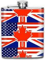 ZhongXiaoStyle North American British Flag 7 Oz Hip Stainless Flask
