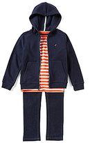 Nautica Little Boys 2T-7 Solid Hoodie, Striped Shirt, & Pants 3-Piece Set