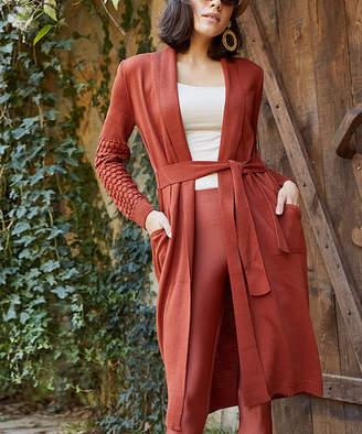 Aqe Fashion AQE Fashion Women's Cardigans CINNAMON - Cinnamon Pocket Textured-Sleeve Cardigan - Women