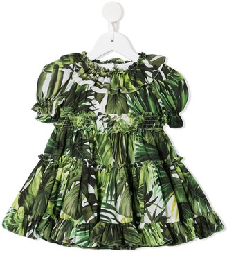 Dolce & Gabbana Kids Palm Print Dress